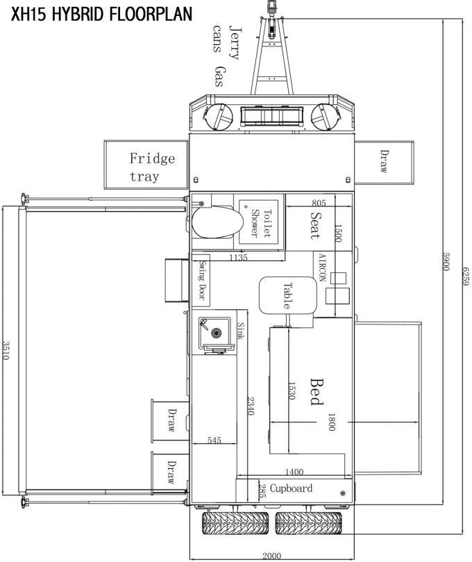 xh15 hybrid caravan floorplan